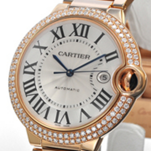 Replica Cartier Ballon Bleu Diamonds Gold Automatic Watch WE9008Z3