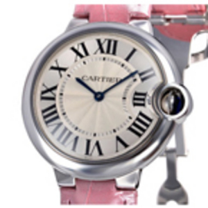 Replica Cartier Ballon Bleu Pink Leather Midsize Watch W6900452