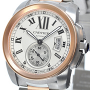 Replica Calibre de Cartier Gold/steel Automatic Watch W7100036