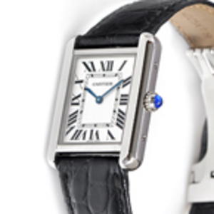 Replica Cartier Tank Solo Black Leather Ladies Watch W1018255